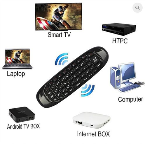 Air Mouse e teclado QWERTY 6-Axis Gyro 2.4G sem fio p/ Android Win, Ma