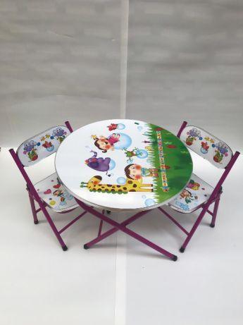Masa rotunda pentru copii cu 2 scaune pliabile diverse desene