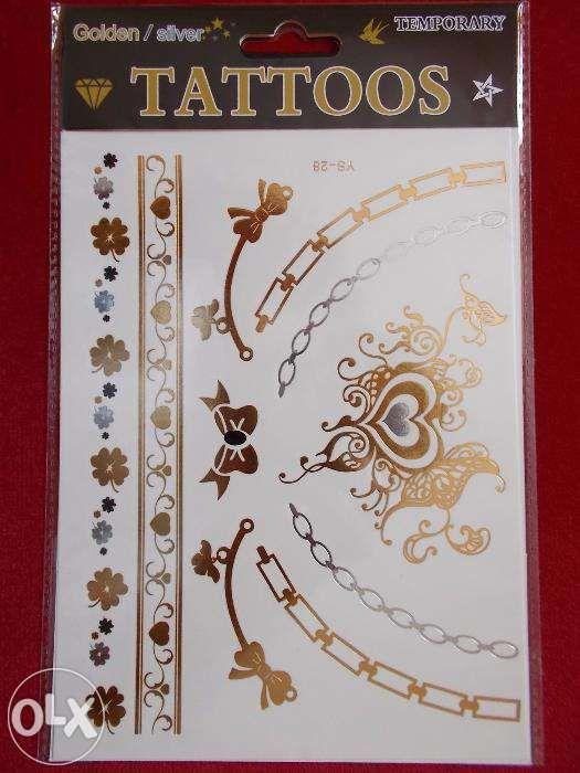 Tatuaje temporare argintii aurii format mare (20x15cm) tattoos