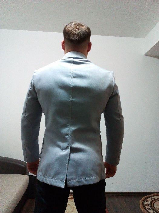 Sacou bărbați vară gri-albastru, subțire, slim fit, elegant, azur