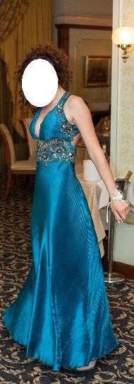 Официална тюркоазено синя рокля