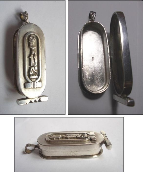 Caseta pandant / cartus egiptean din argint masiv