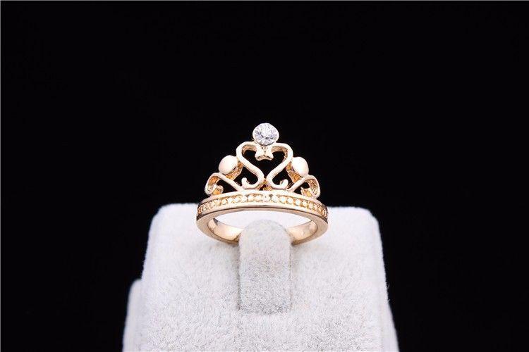 GR271,inel placat aur 18k,stil coroana, zircon alb fatetat