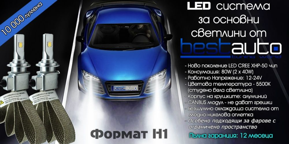 Диодни LED крушки за фарове H1 10000L 5500K