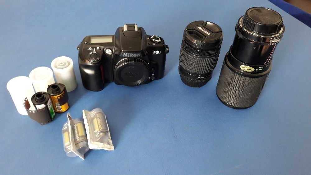 Nikor SLR F60 + Nikkor 28-80 f/3.5-5.6D + Vivitar 70-210 f/3.5 + alte
