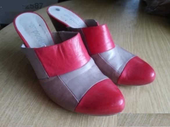 Дамски обувки- чехъл висок ток, сандал бежов, римлянки, ефектен ток