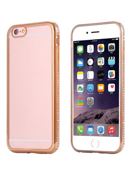 Husa Apple iPhone 6/6S, Elegance Luxury placata cu diamante Gold