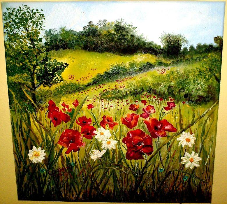 """Vand """"Taina florilor de camp"""", tablou-pictura in ulei pe panza"""