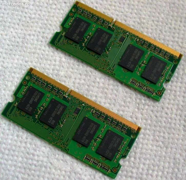 Două module de memorie Samsung 1GB PC3-8500S DDR3-1066MHz SoDimm Memor