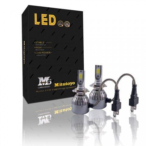 Японски! Комплект LED диодни крушки за фарове 2х 36w 7600lm H4 Н4 12