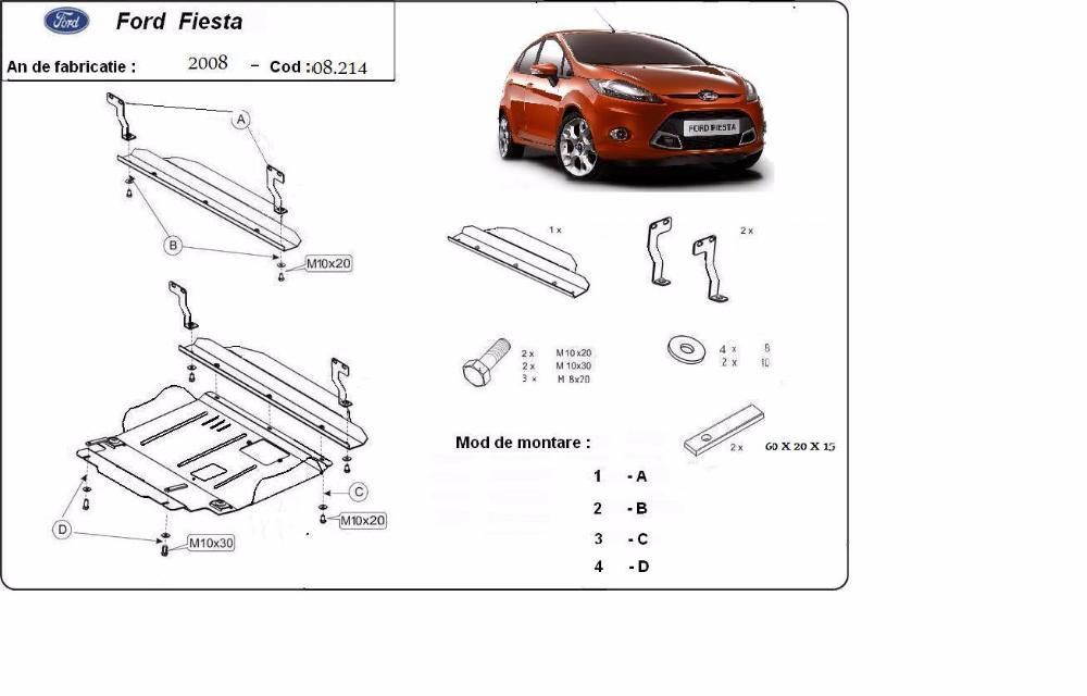 Scut metalic pentru motor Ford Fiesta 2008-2016 - otel 2mm