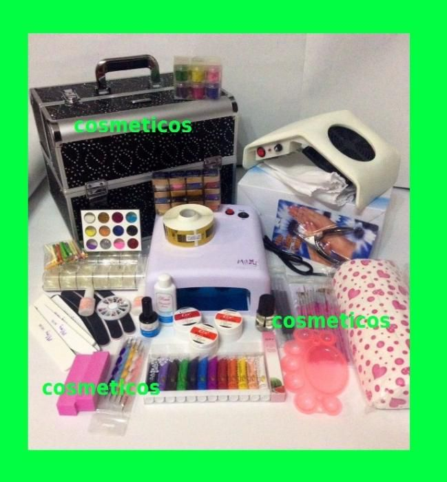 Kit unghii false/gel -geanta, aspirator, lampa UV, geluri   XXL