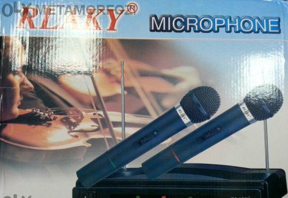 2 броя Безжични Вокални Микрофони -wireless + майка- приемник - 100 ме