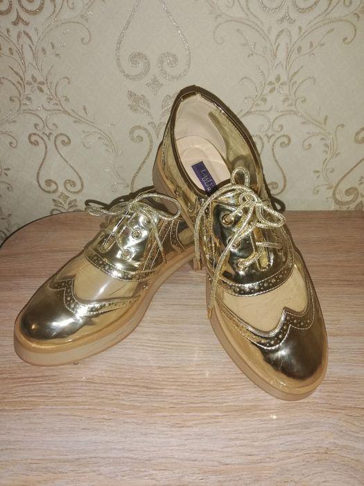 Ботинки стильные золотые