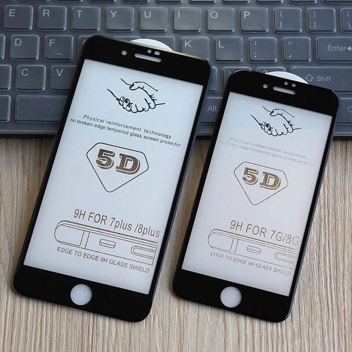 Iphone 7 7 Plus - Folie Sticla Securizata Curbata 5D 6D Alba, Neagra