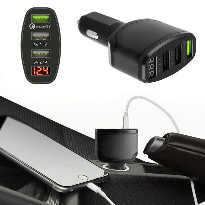 Incarcator auto rapid QC3+dual USB porturi (2.1A+2.1A), indicare volta