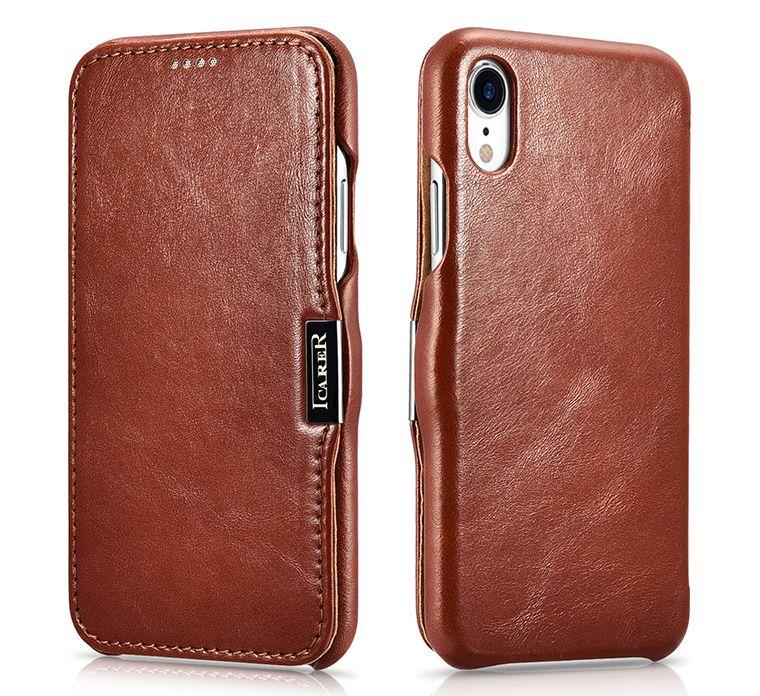 Husa piele naturala iCarer iPHONE XR, inchidere magnetica, dif culori