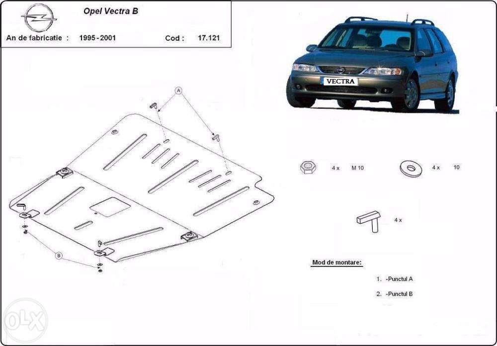 Scut metalic pentru motor Opel Vectra B 1995-2001 - otel 2mm