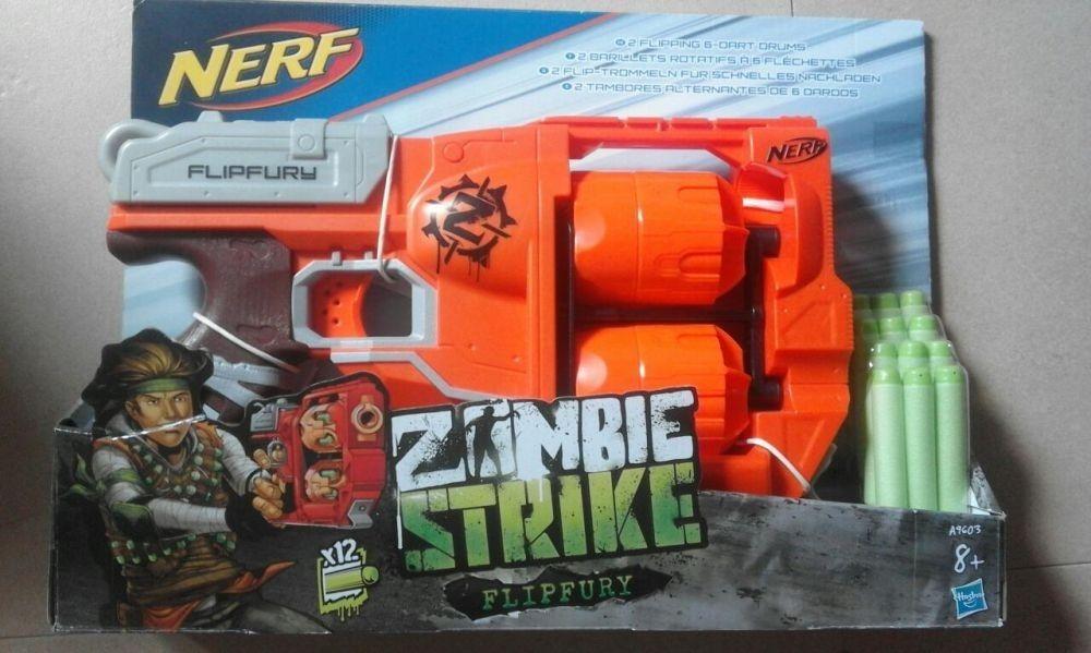 Set Pistol-mitraliera dublu Nou,12gloante, Nerf Zombie Strike, sigilat