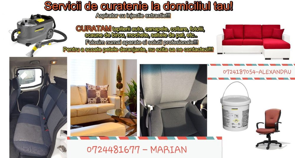 Curatenie generala Curatat tapiterii scaune canapele fotolii mochete