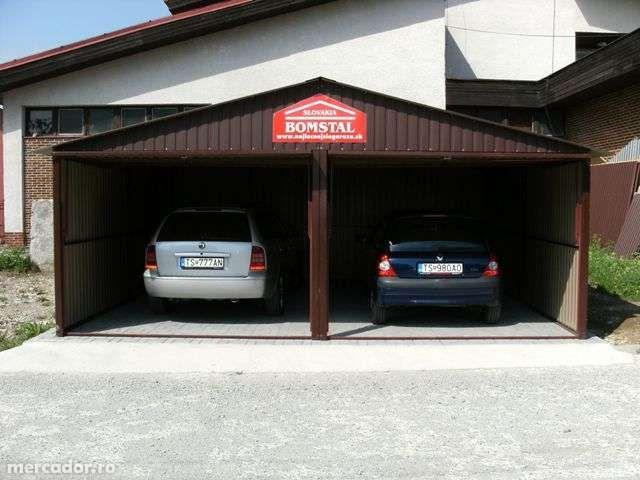 Garaj metalic colorat pentru 2 maşini, de 6m x 5m, cu porţi culisante