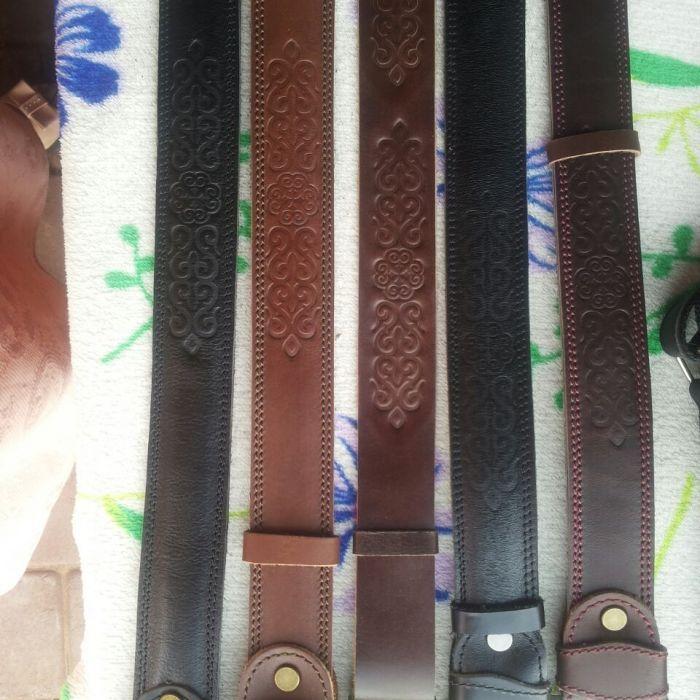 Мужской кожаный ремень %100 натуральный кожа орнаментом