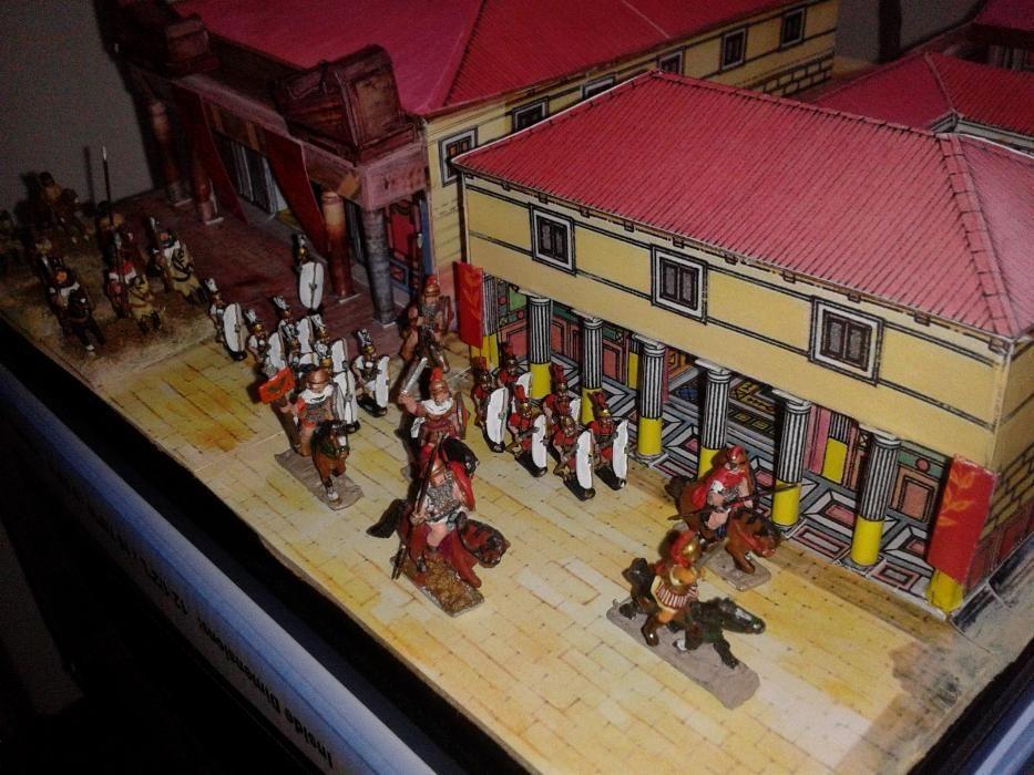 diorama cu macheta palat consul roman si soldati pictati 1:100