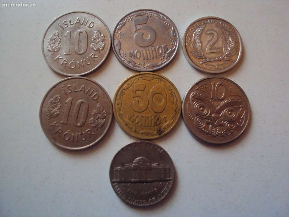 Lot 7monezi vechi UNC din Islanda SUA Noua Zeelanda si InsuleleCaraibe