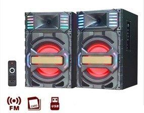 Set 2 boxe Portabile cu Bluetooth, Radio FM, USB, SD Card si Telecoman