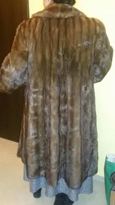 Италианско кожено палто-естествен косъм