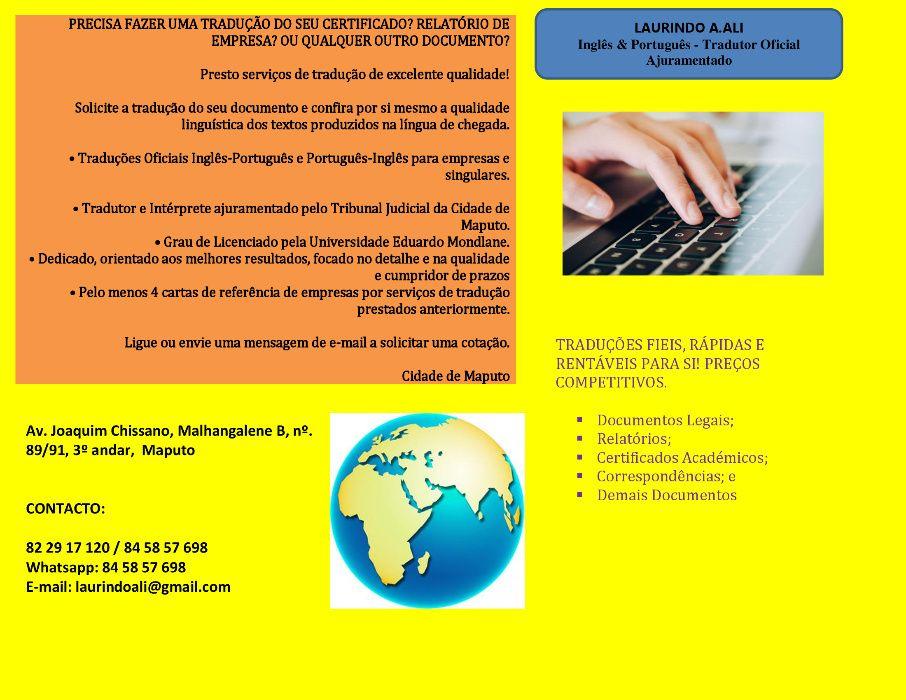 Inglês & Português - Tradutor Oficial Ajuramentado
