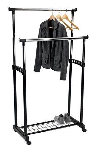 Двоен щендер за дрехи/закачалка с регулируема височина,рафт за обувки