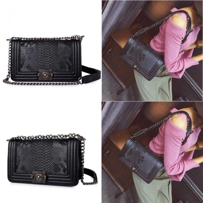Geanta eleganta cu lant piele neagra superba dama stil Zara Gucci