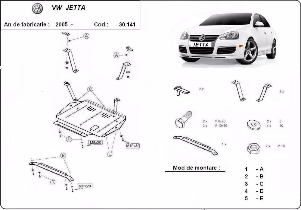 Scut metalic pentru motor VW Jetta 2005-2011 - otel 2mm