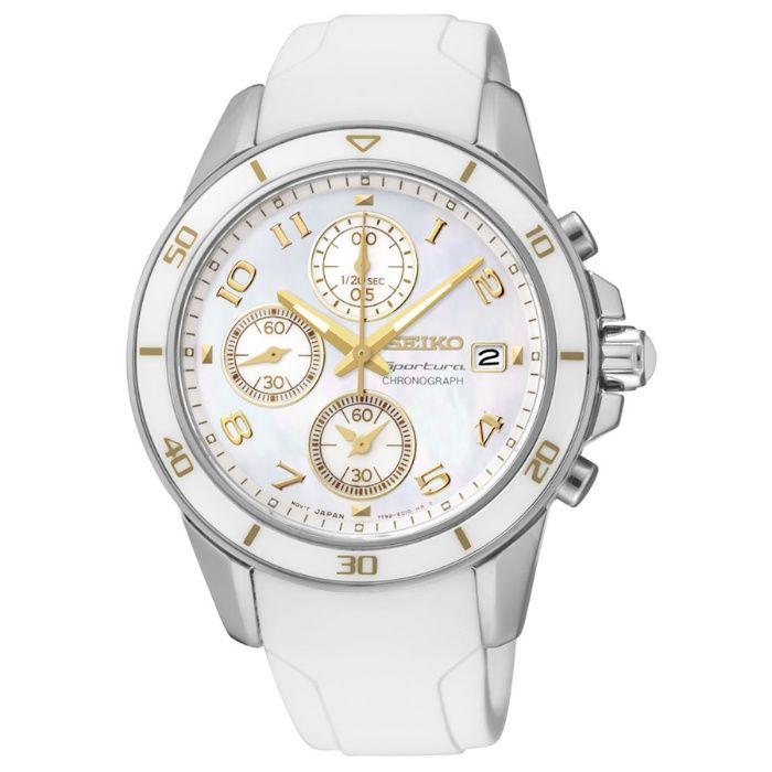 Дамски часовник Seiko Sportura Chronograph Ceramic White Dial