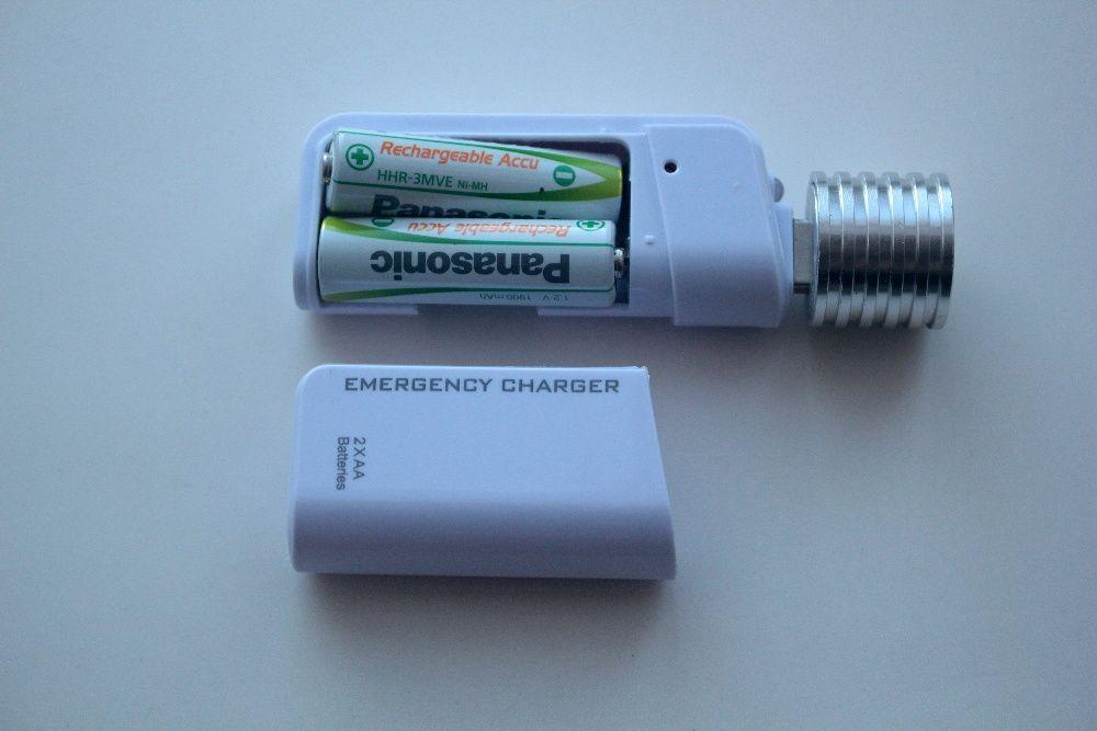 PowerBank питанием от 2xAA с фонариком USB.