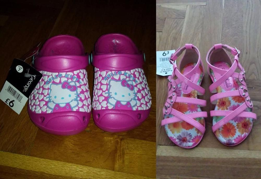Нови чехли ( кроксчета ) с Hello Kitty и нови сандали на George