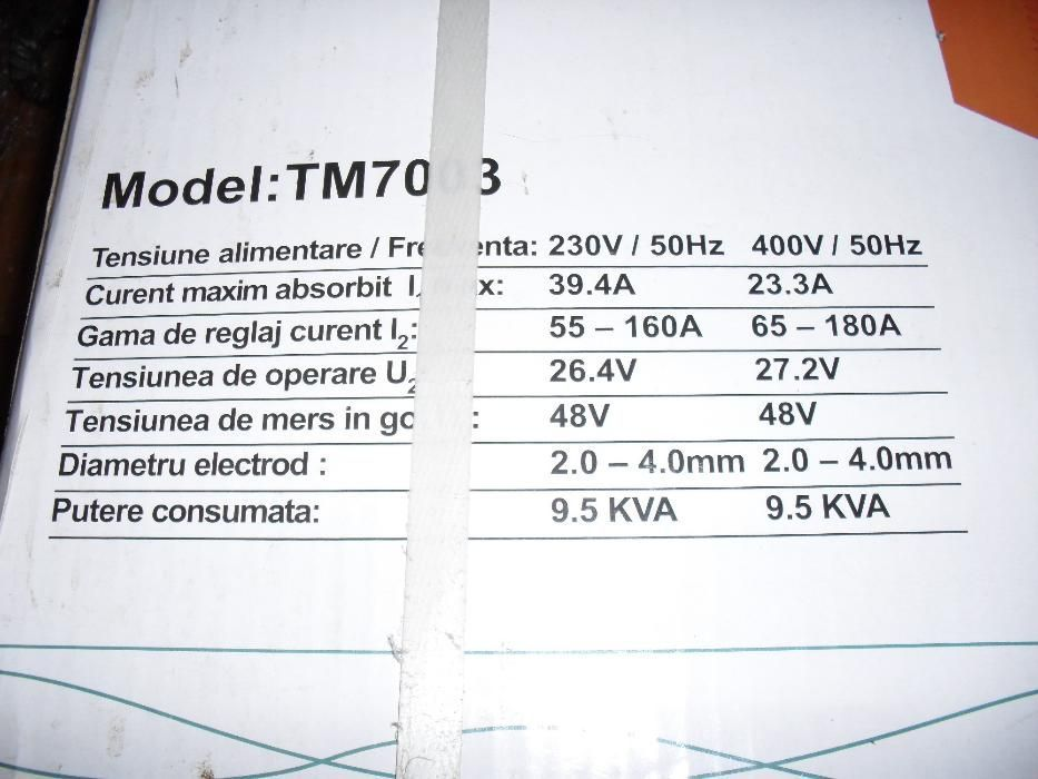 OPTIMO POWER, TM7003, aparat de sudura tip transformator, nou, la cuti