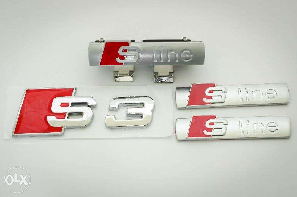 Set embleme audi s3- line metal gri/ rosu