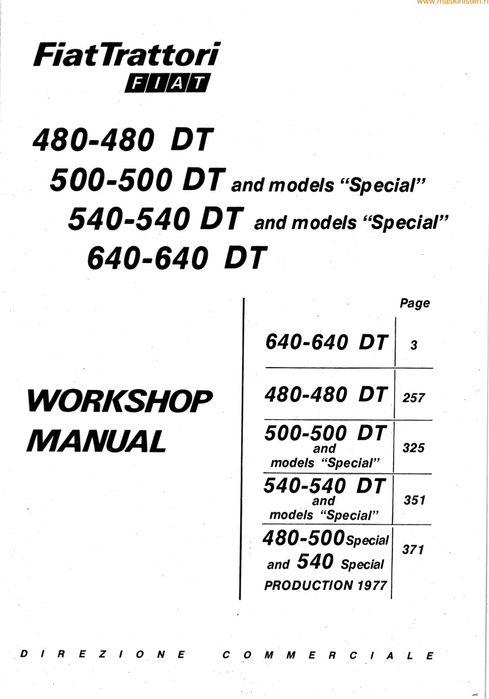 Manual de service pentru Tractoare Fiat 480, 500 DT, 540 DT, 640 DT