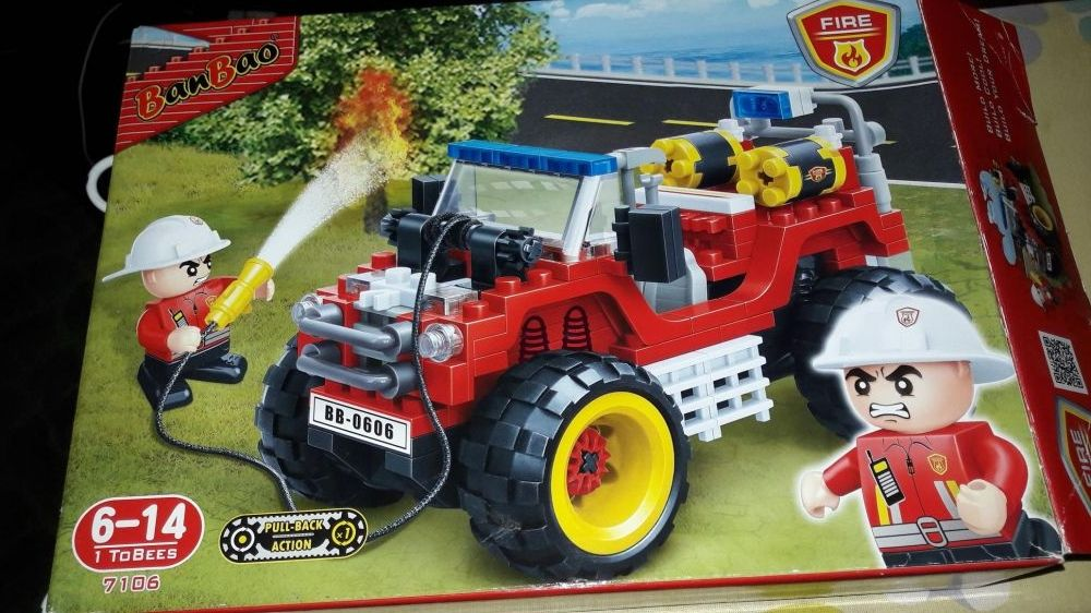 Set construcție pompieri jeep banbao