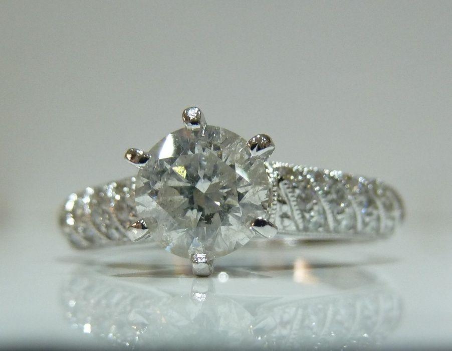 Inel logodna 14k cu diamante si verigheta diamante 1.60ct NOU