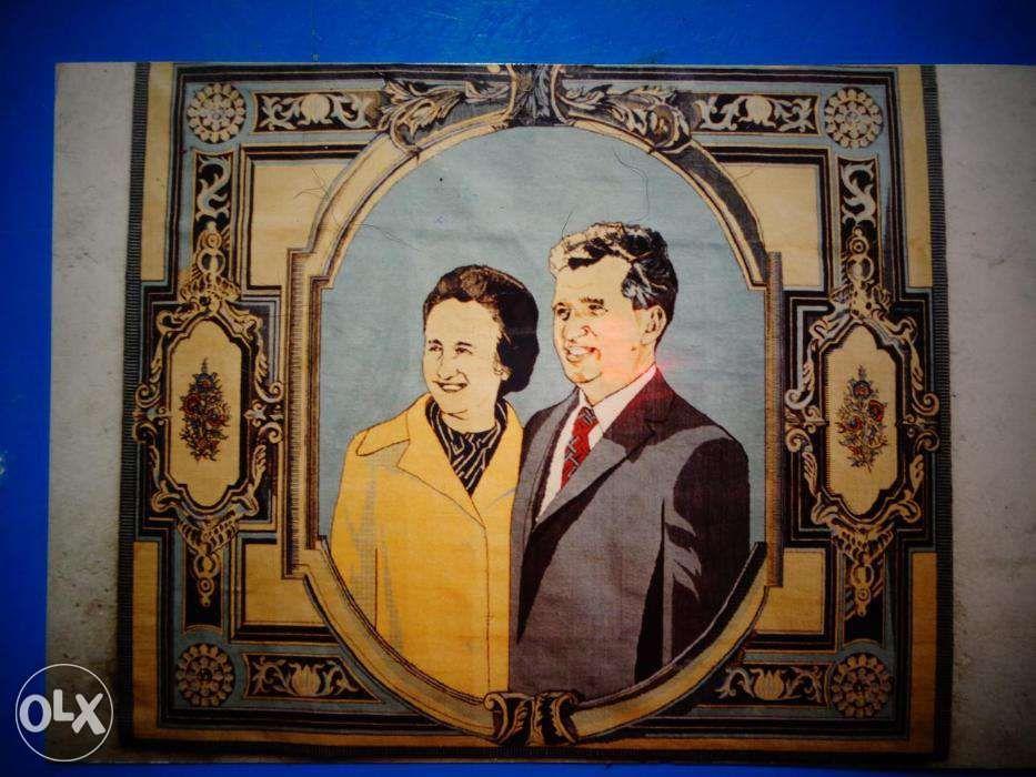 Covor manual lana cu portret Nicolae si Elena Ceausescu Bucuresti - imagine 6