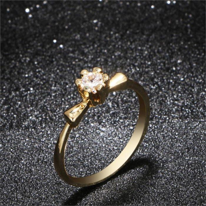 GR307,inel placat aur 14k, ideal logodna, zircon alb