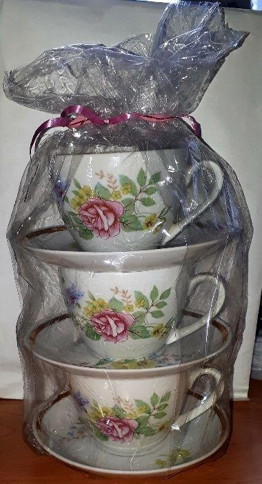 Чайная чашка с блюдцем 3 шт советская