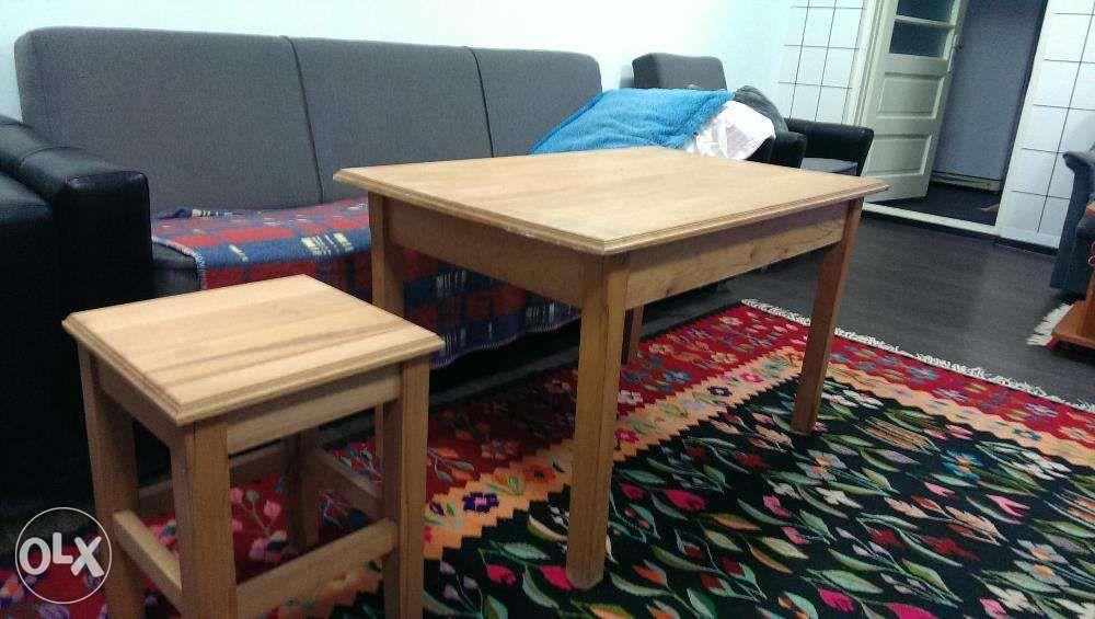 1 masa + 4 scaune lemn masiv (stejar&fag)