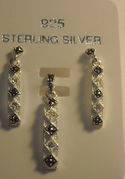 X42,set argint 925,nou/marcat, marcasite si zircon
