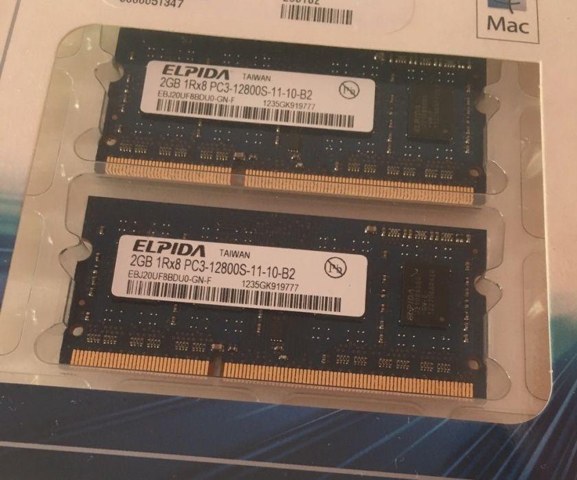 Elpida 4 GB (2 x 2GB) 1Rx8 PC3-12800S-11-10-B2 DDR3 Memorii Laptop/Mac