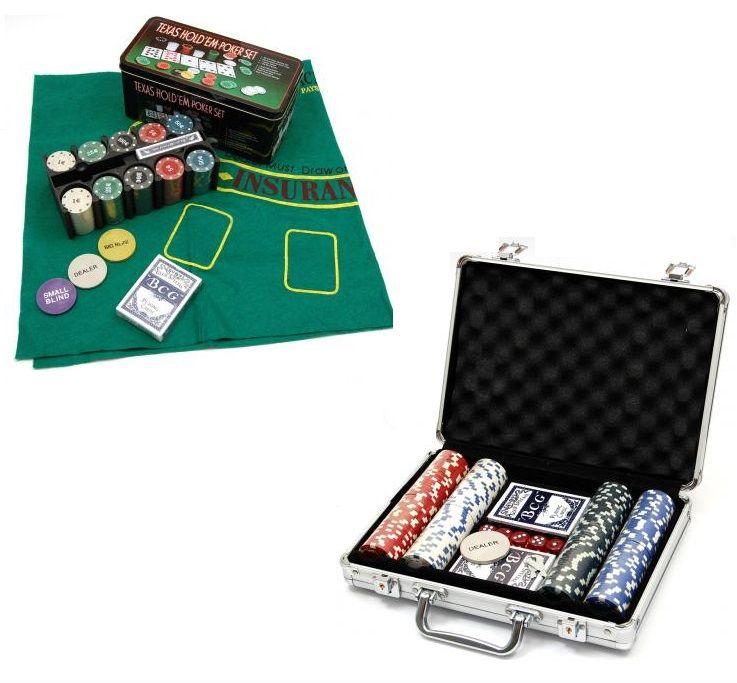 Комплект за покер с килимче - чипове за покер в метално стилно куфарче