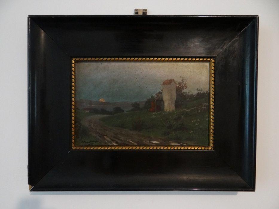 Tablou pictura semnat datat 1900 ulei lemn Art Nouveau Deco